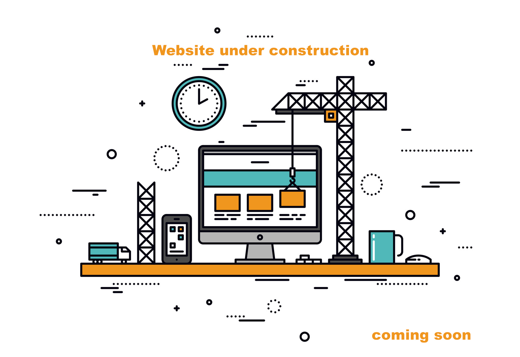 Thin line flat design of website under construction, web page building process, site form layout and menu buttons interface develop. Modern vector illustration concept, isolated on white background.